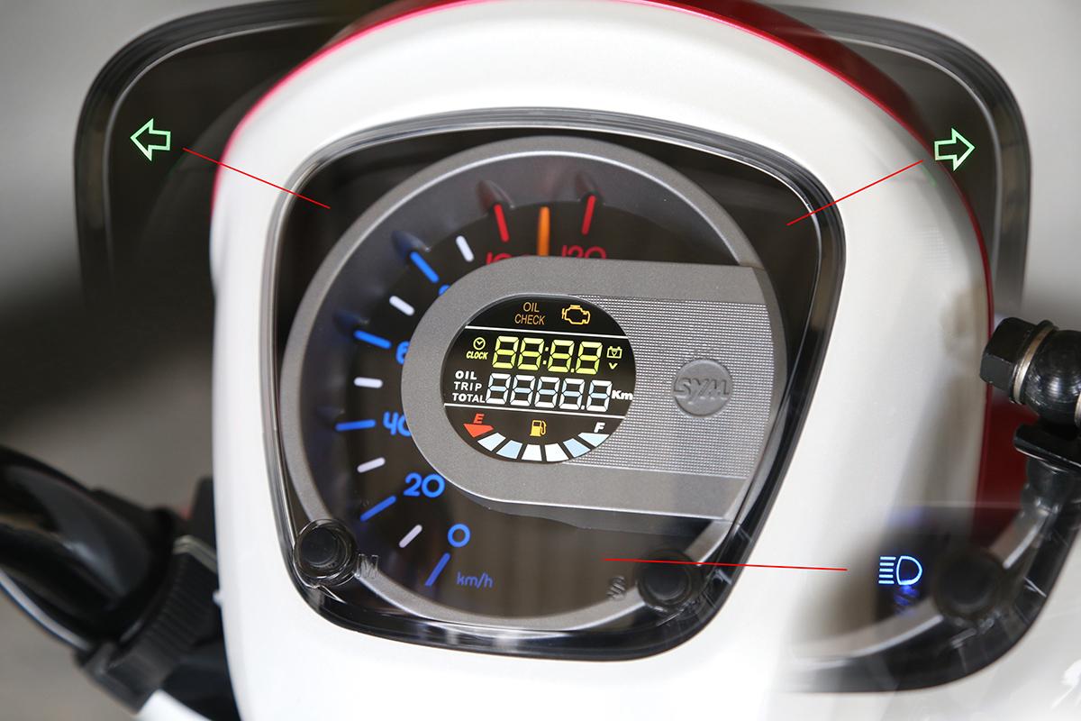 開電門時,儀表多數燈號會全亮做自我檢測,方向燈與遠燈燈號在不啟動時是熄滅看不到的